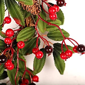 16 Inch European Flower Door Wreath Handmade Artificial Floral Garland with Red Berry Pine Cone for Front Door Display Wedding Farmhouse Home Wall Christmas Decoration 5