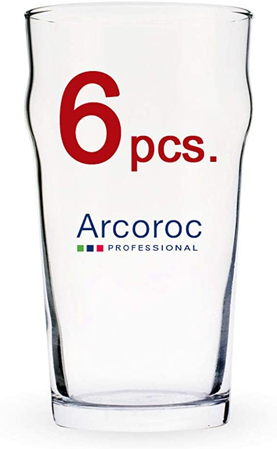 ARCOROC Nonic Pint Beer Glass 570 ml Set de 6: Amazon.es: Hogar
