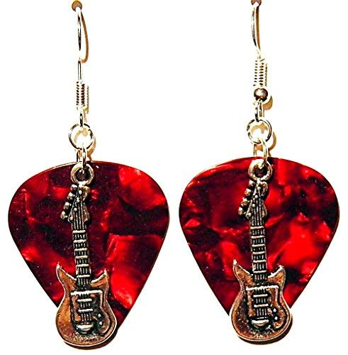 Electric Guitar Charm on Guitar Pick Earrings (Red Guitar ()