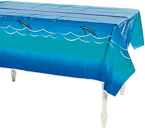 """Fun Express Shark Tablecloth (1 Piece) Plastic, 54"""" x 108"""", Pool Party, Disposable Décor, Birthday Party Supplies"""
