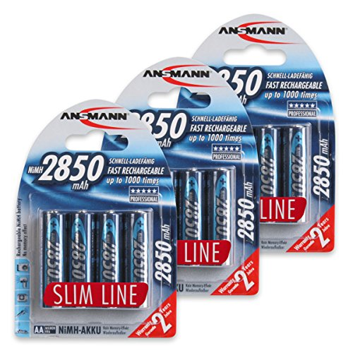 ANSMANN AA Rechargeable Batteries 2850mAh Slimline high-capacity rechargeable NiMH AA Battery for cameras etc. (12-Pack)