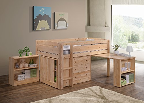 Canwood Whistler Junior Loft Bed, Natural, Twin-Sized Mattress (Not Included), Bunk Bed Alternative, Great for Sleepovers, Underbed Storage/Organization