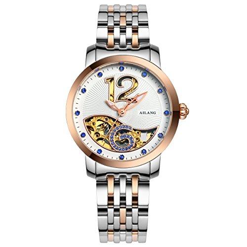 AILANG Luxury Women's Gold Skeleton Mechanical Stainless Steel Strap Dress Watch AL-6813 (Gold Bezel/White dial/Blue (Gray Dial Gold Bezel)