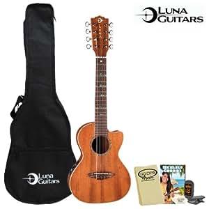 luna guitars 8 string tenor uke htt8 electric ukulele kit includes gig bag. Black Bedroom Furniture Sets. Home Design Ideas