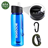 SGODDE Sports Water Bottle with Filter BPA Free Water Purification Bottle with 2-Stage Filter Straw, Filtration Water Bottle for Hiking, Camping, Backpacking, Emergency and Travel-22.2 oz (650ml)