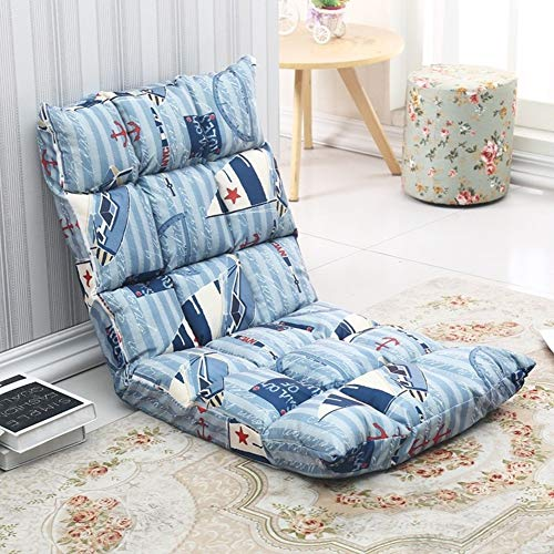 Lovehouse Adjustable Folding Lazy Sofa Chair 5-Position Gaming Floor Chair Comfort Printed Seat Cushion with Back Support -F ()
