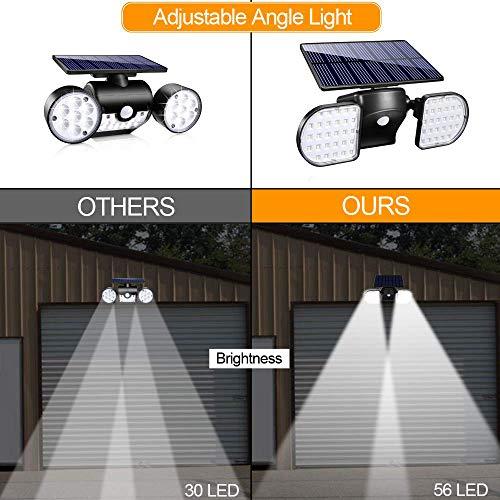 Motion Sensor Light Outdoor YULAMP 56 LED Solar Light Outdoor With Motion Sensor Wall Light Adjustable Solar Motion Sensor Spotlight Waterproof 360-Degree Solar Powered Security Light for Yard Garden