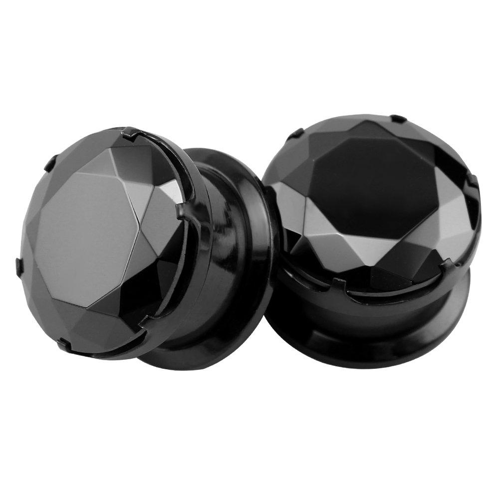Black CZ Stone Ear Gauges Stainless Steel Screw Plugs Tunnel Ear Expander Stretcher Piercing (Gauge=2g(6mm))