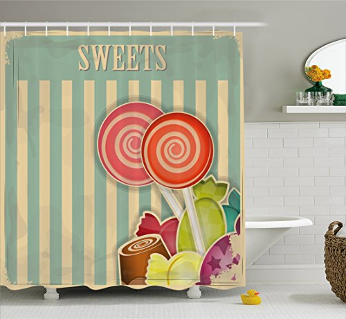 Ambesonne Vintage Shower Curtain, Retro Old Candy Store Choc