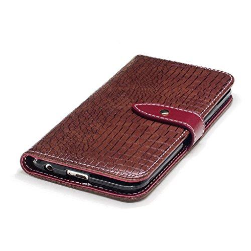 Trumpshop Smartphone Carcasa Funda Protección para LG K10 (2017) [Marrón] Patrón de Piel de Cocodrilo PU Cuero Caja Protector [No compatible con LG K10] Marrón