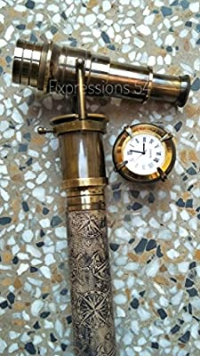 Vintage Walking Sticks Canes Strong Wooden Walking Stick Leather Stitched Telescope Handle And Clock on Top
