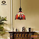 Makenier Tiffany Style Stained Glass Red Dragonfly Vintage Small Pendant Lamp - 7 Inches Lampshade