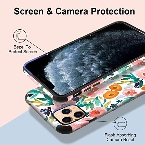 CUSTYPE Case for iPhone 11 Pro Max Case, iPhone 11 Pro Max Case Floral Watercolor Camellia Flower Design Girls Women Leather Bumper Soft TPU Shockproof Protective Cover for iPhone 11 Pro Max 6.5''