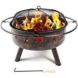 Belleze Outdoor Firepit Diamond Wood-Burning Fire Pit Sky Stars Moons Design with Lids