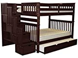 Bedz King Stairway Bunk Beds Full over Full with 4 Drawers in the Steps and a Twin Trundle, Cappuccino For Sale