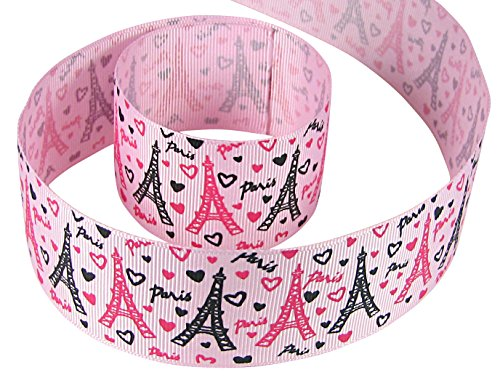 HipGirl Eiffle Tower I Love Paris Grosgrain Ribbon (5yd 1.5