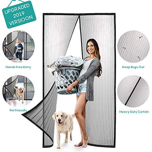 - Magnetic Screen Door with Heavy Duty Curtain-Full Frame Seal,Hands Free,Pet Friendly-Fits Doors Up to 38