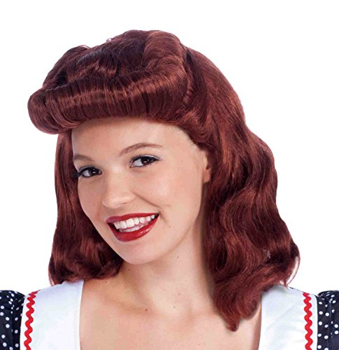 Forum Novelties Women's 40's Housewife Lady Costume Wig, Auburn, One (Rockabilly Wig In Red)