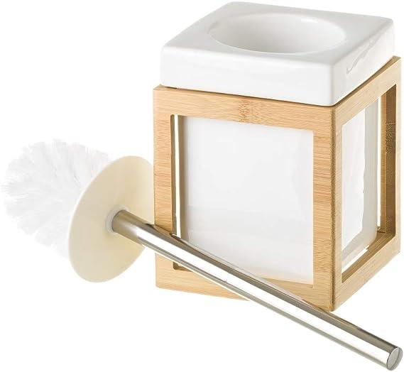 LOLAhome Conjunto de dispensador jabonera y portacepillos de cer/ámica y bamb/ú n/órdico Blanco