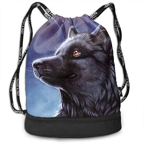 XTGOO Drawstring Backpack Moonlight Wolf Print Travel Sport Yoga Gym Sack Bag Outdoor Bundle Backpack Laptop Bag Beach Rucksack for Men/Women