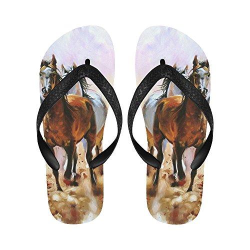 D-story Cheval Équestre Passion Peinture À Lhuile Tongs Sandales De Plage Pour Hommes / Femmes
