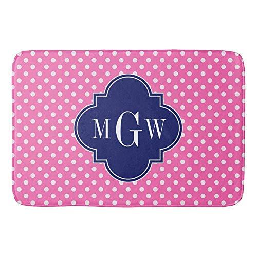 Hot Pink Wht Polka Dots Navy Quatrefoil Monogram Bathroom Mat Bath Rug 23.6x15.7inches ()