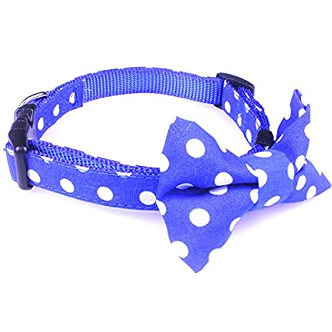 2454637f4dc6 Amazon.com : Dog Bow Tie Collar - Puppy Ties Cute Dog Collars - This Nylon Dog  Collar is Perfect for Fancy Dogs. A Cool and Unique Dog Collar!