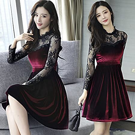 b23bb5c652e5 Wanglele Black Dress Spring And Summer Lace Black Gold Silk Dress Female  Long Sleeve Thin Lean