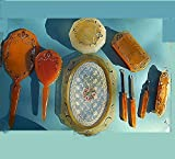 1930'S Amber Celluloid Deco Painted Hand Mirror, YOUR CHOICE of CAMEO, Bobbin Lace Vanity Tray, Jar, Hinged Box, Manicure Tools, 9 Pcs. SET 179.90 + Options Available.