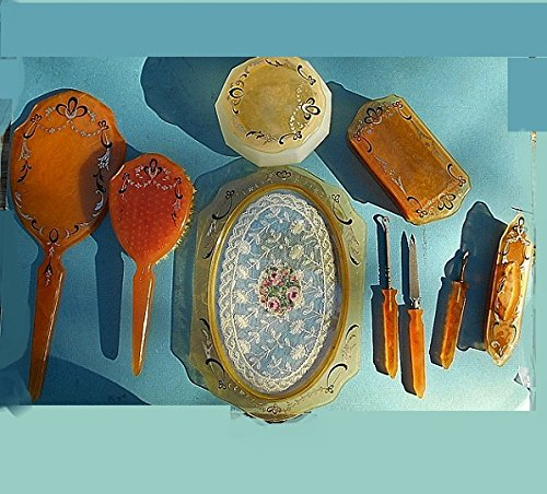 1930s Celluloid (1930'S Amber Celluloid Deco Painted Hand Mirror, YOUR CHOICE of CAMEO, Bobbin Lace Vanity Tray, Jar, Hinged Box, Manicure Tools, 9 Pcs. SET 179.90 + Options Available.)