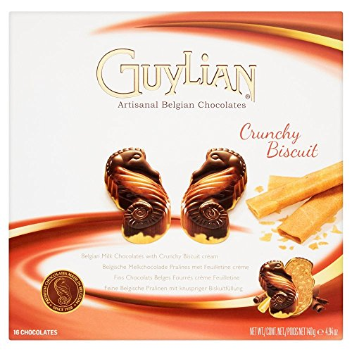 Belgian Chocolate Biscuits - Guylian Crunchy Biscuit Seahorses Artisanal Belgian Chocolates Gift Box (Kosher) - 140g