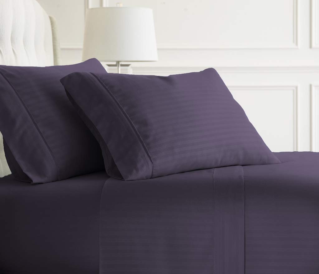 Soft Essentials Premium Embossed Striped Design 4 Piece Bed Sheet Set (Full - Purple)(Pack of 12)