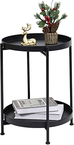 Side Table Small Tray Metal End Table,Black Metal Nightstand,2-Tier Round Folding Side Table