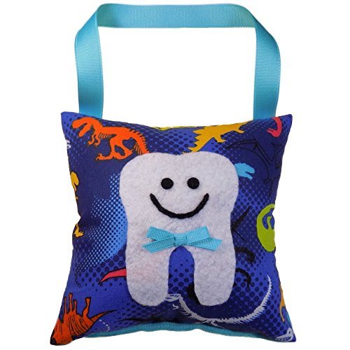 - Tooth Fairy Pillow Keepsake for a Boy Blue and Turquoise with Dinosaurs