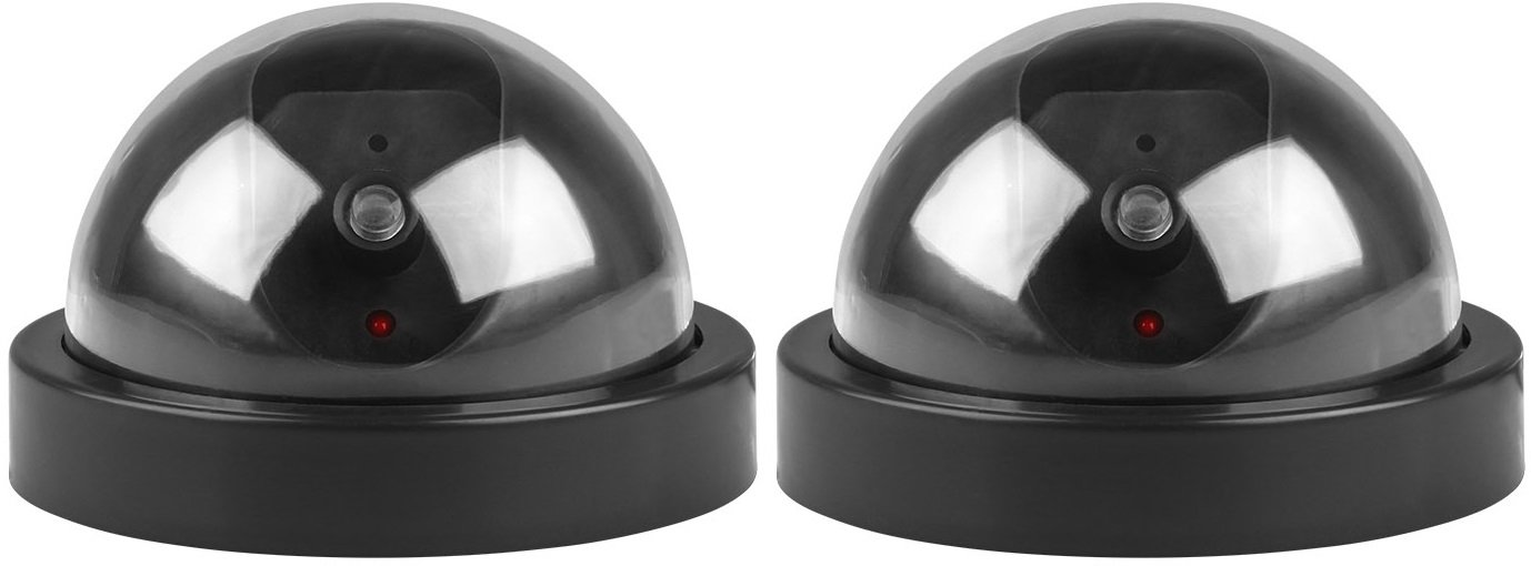 GPCT Fake Dummy Security Surveillance Dome Camera W/ Flashing Red LED Light. Realistic Look Recording CCTV Camera For Indoor/Outdoor/Business/Home/Office/Supermarket/Hotel/Library/School- 2 PACK