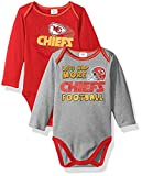 Kansas City Chiefs 2017 NFL Children Boys 2 Pack Long sleeve Bodysuit, Infant Baby Toddler - Includes 2 Bodyuit/Onesie