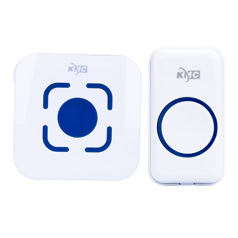 KMC simple wireless doorbell 1000 Feet Operating 1 plug in without battery receiver and 1 remote button transmitter ringing time more than 50 times white