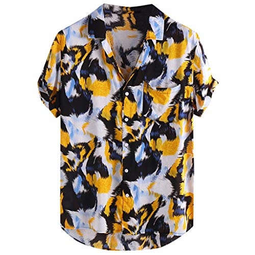 - LYN Star ♪ Men's White T-Shirt Hippie Shirt V-Neck Beach Yoga Top Hawaiian Shirts Boho Printed Beach Party Holiday