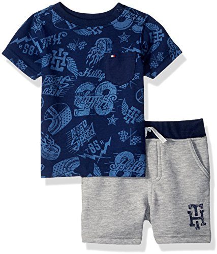 Tommy Hilfiger Baby Boys 2 Pieces Shorts Set, Navy/Gray 6-9 Months