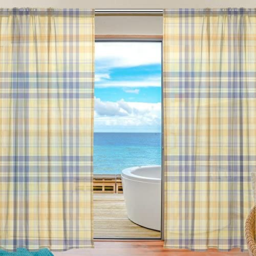 My Little Nest Yellow Sheer Window Curtains Drapes 55 X 78 Inch Decorative Window Treatments for Bedroom Living Room 2 Panels
