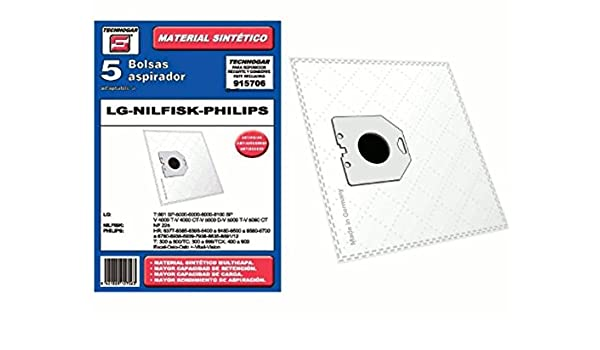 LG Synthetic Vacuum cleaner bag Nilfisk Philips Pack of 5 ...