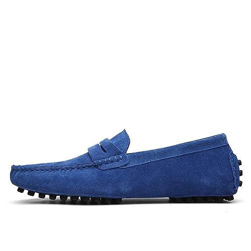 Mocasines de Cuero de Moda para Hombres Que conducen el resbalón en Zapatos cómodos del Barco de Gran tamaño clásicos: Amazon.es: Zapatos y complementos