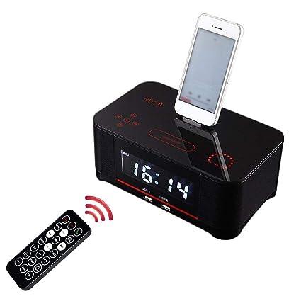 Radio Reloj con Radio FM con Alarma Dual 4.0 con Altavoz, Respaldo de batería, repetición y Temporizador de Apagado, Pantalla Grande, compatibilidad ...