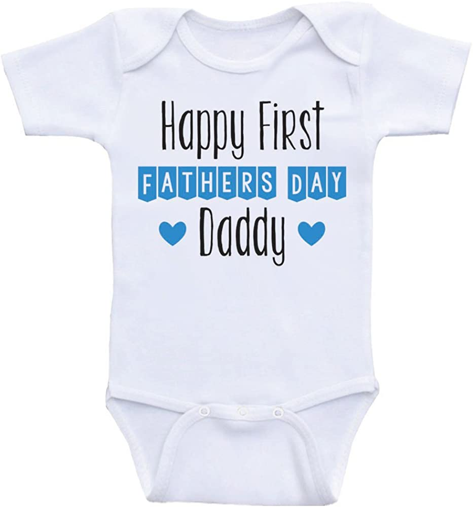 Personalized Gifts Happy First Fathers Day Blue Baby Bear Infant T-Shirt