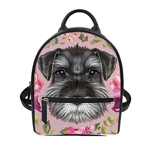 - HUGS IDEA Schnauzer Puppy Print PU Leather Mini Backpack Travel Lightweight Shoulder Bag Student Hipster Daypack