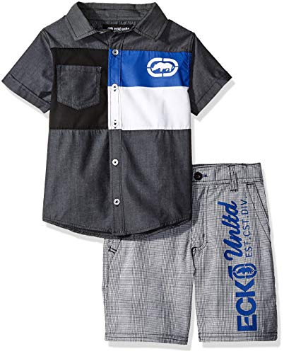 (Ecko Boys' Little Sleeve Woven Shirt and Plaid Short Set, Black, 6)