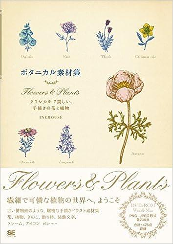 ボタニカル素材集 Flowers Plants クラシカルで美しい手描きの花と