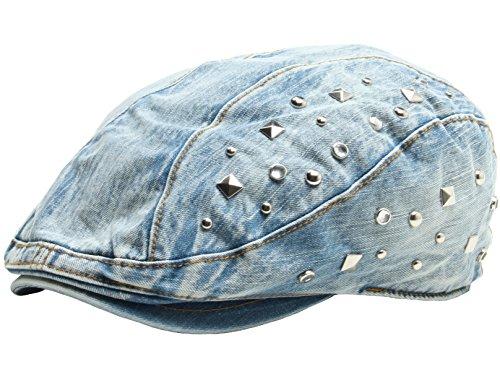 (RaOn N65 New Stitch Design Distressed Denim Newsboy Flat Cap Fashion Gatsby Golf Ivy Hat (Stud-Blue))
