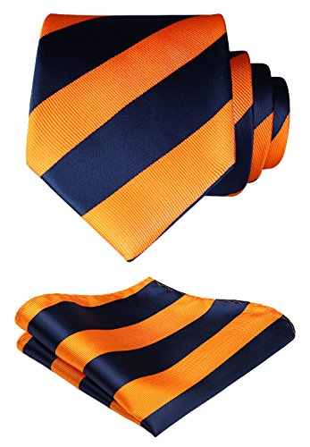 Tie Blue And Orange (HISDERN Striped Wedding Tie Handkerchief Woven Classic Men's Necktie & Pocket Square Set Navy Blue & Orange)