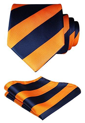 HISDERN Striped Wedding Tie Handkerchief Woven Classic Men's Necktie & Pocket Square Set Navy Blue & Orange (Necktie Striped Silk Navy)